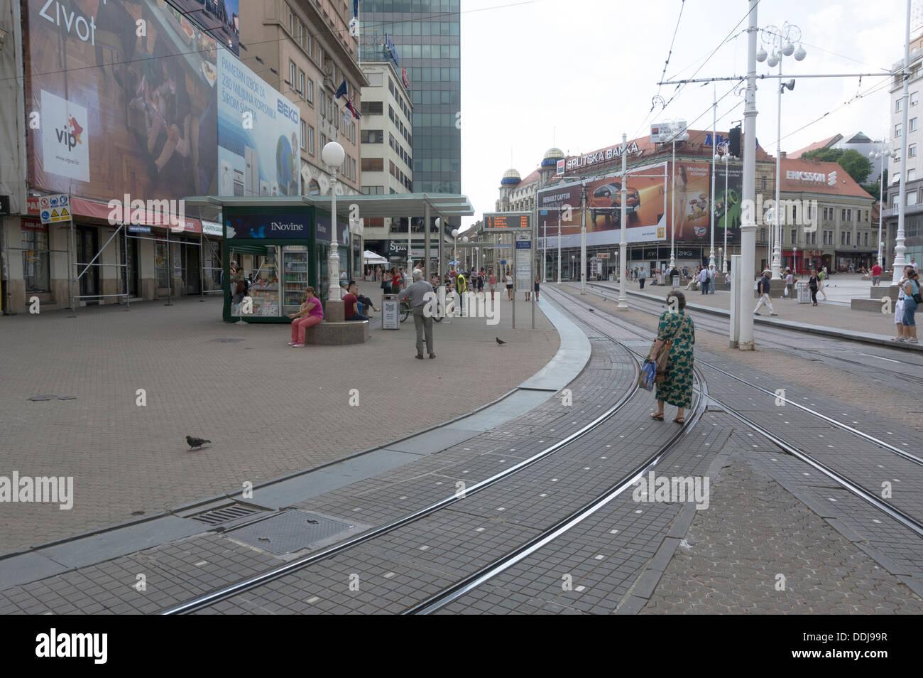 Zagreb street view - ban Jelacic square - Stock Image