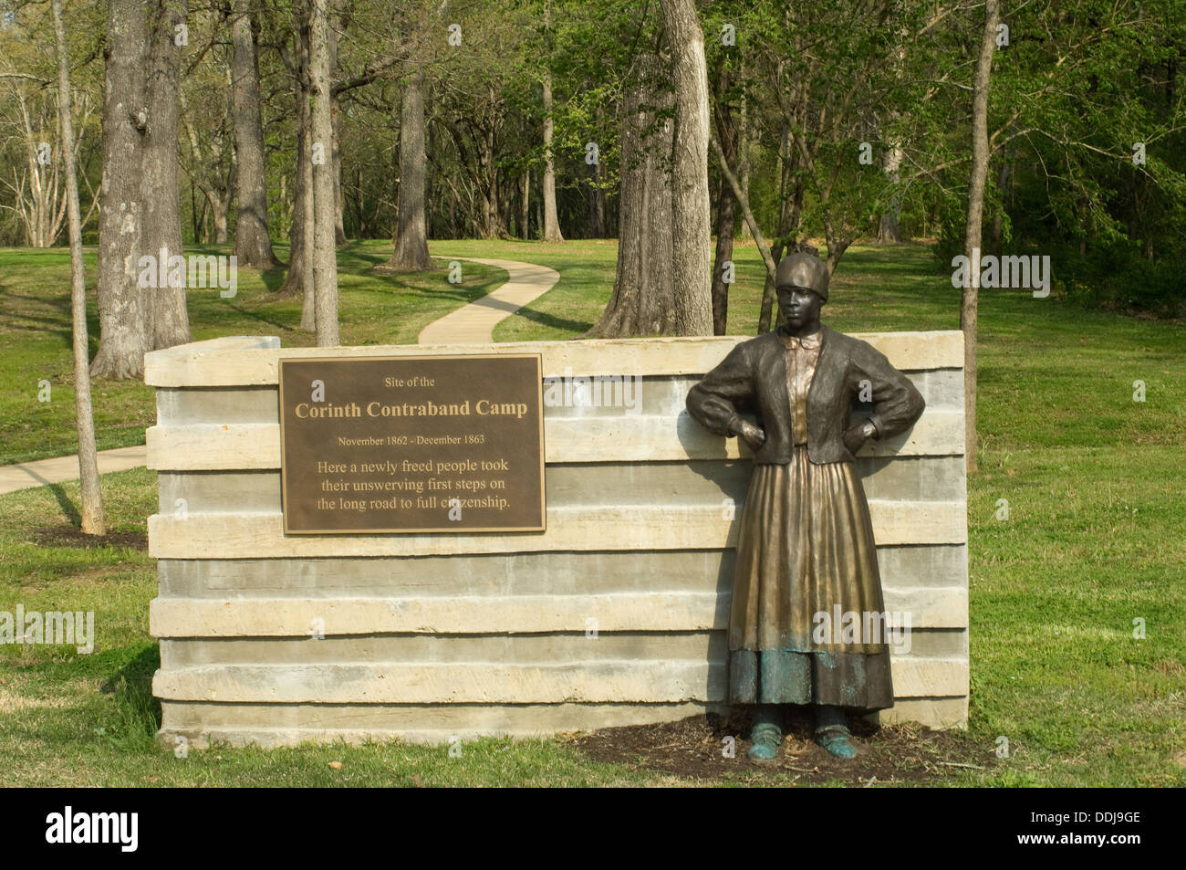 Memorial to freed slaves who were housed at Union Army's Contraband Camp in Corinth MS, 1862-1864. Digital photograph - Stock Image