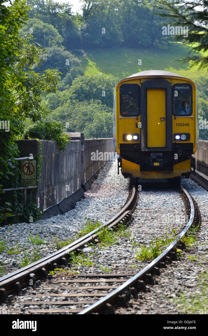 DMU crossing the huge viaduct between Bere Alston and Calstock on the Tamar Valley branch line. Pictured 3rd September 2013. - Stock Image