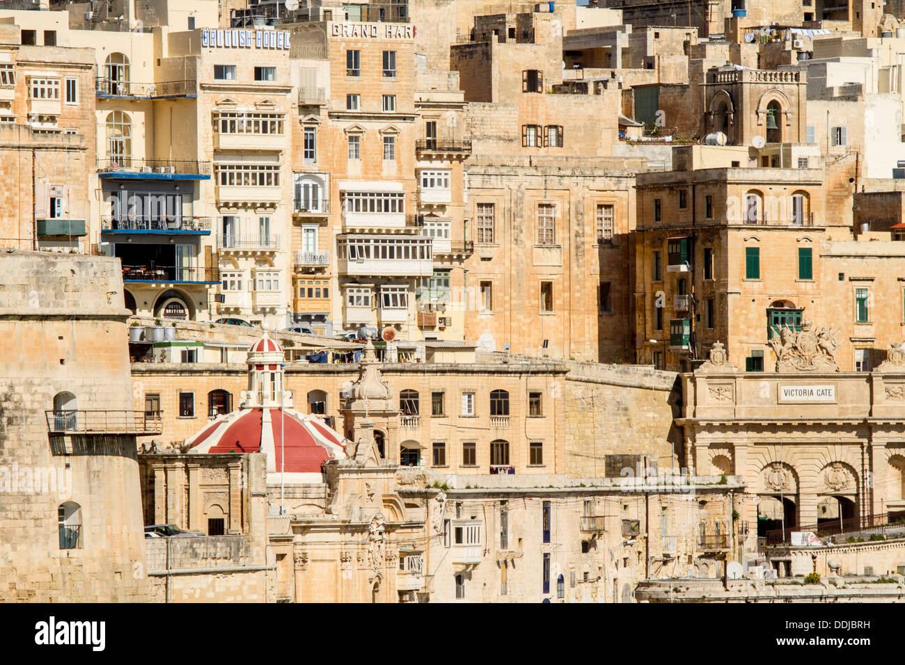 Valletta viewed from Senglea, Malta. - Stock Image