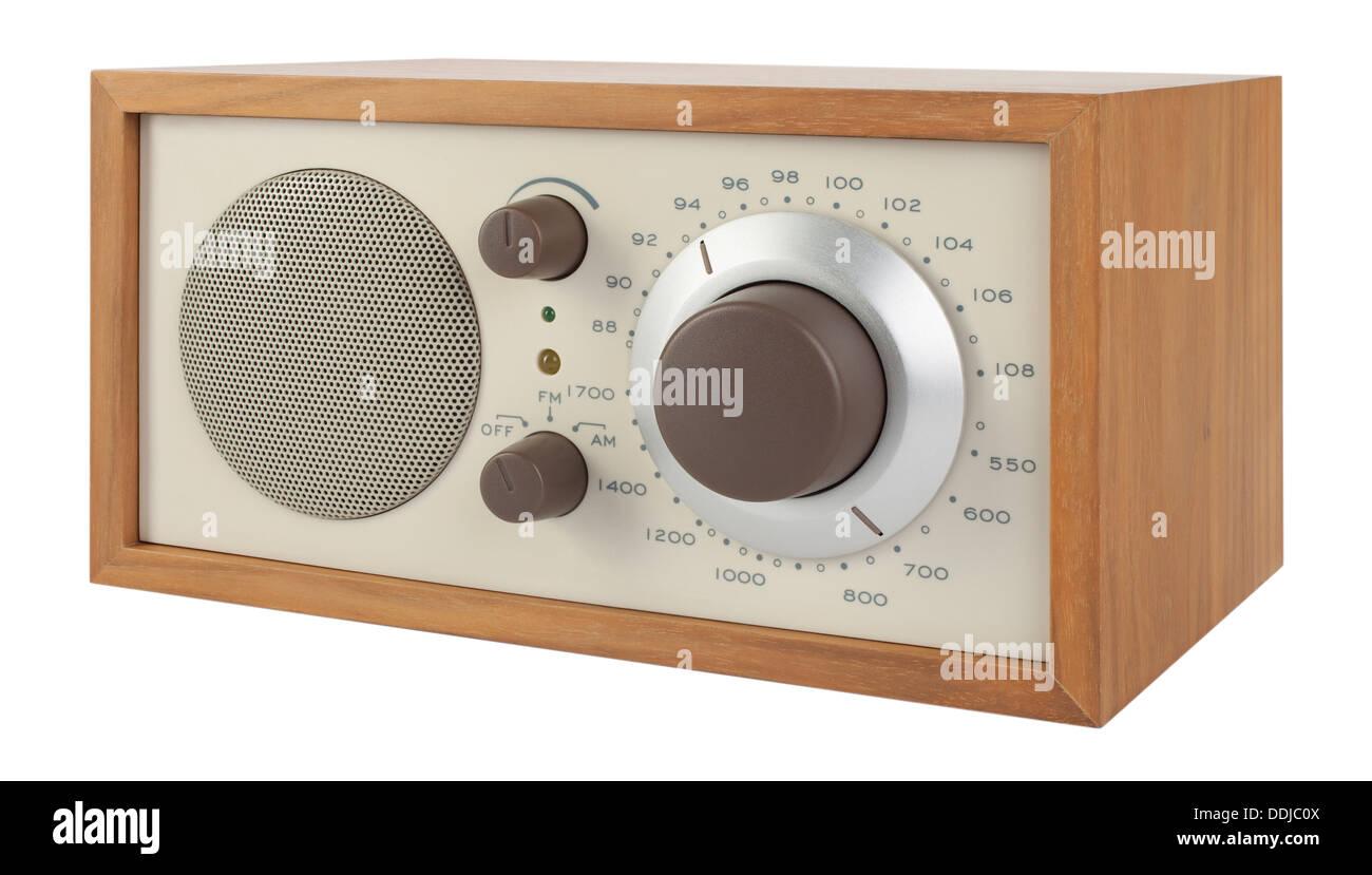 Radio in retro style on white background, close up - Stock Image