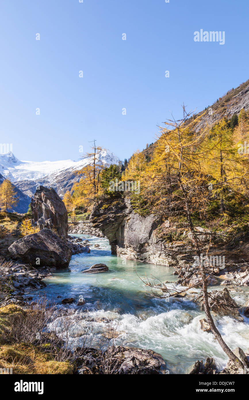 River in alp canyon landscape - Stock Image