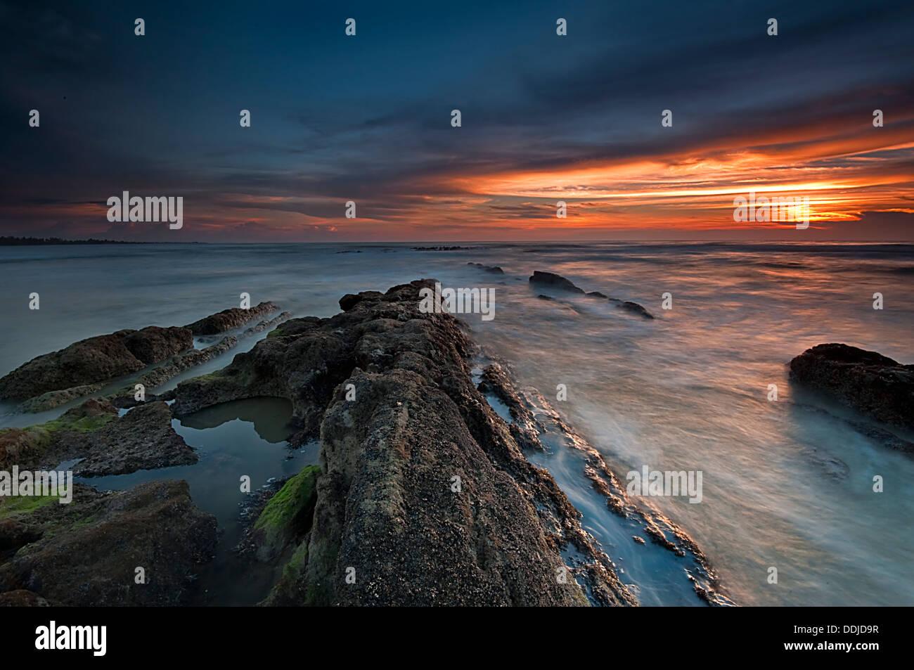 Sunset at Miri Beach - Stock Image