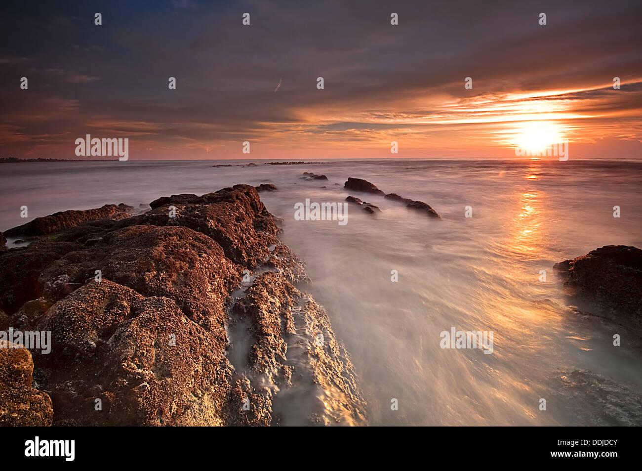 Dusk Bungai Coast, inland of Miri in Sarawak - Stock Image