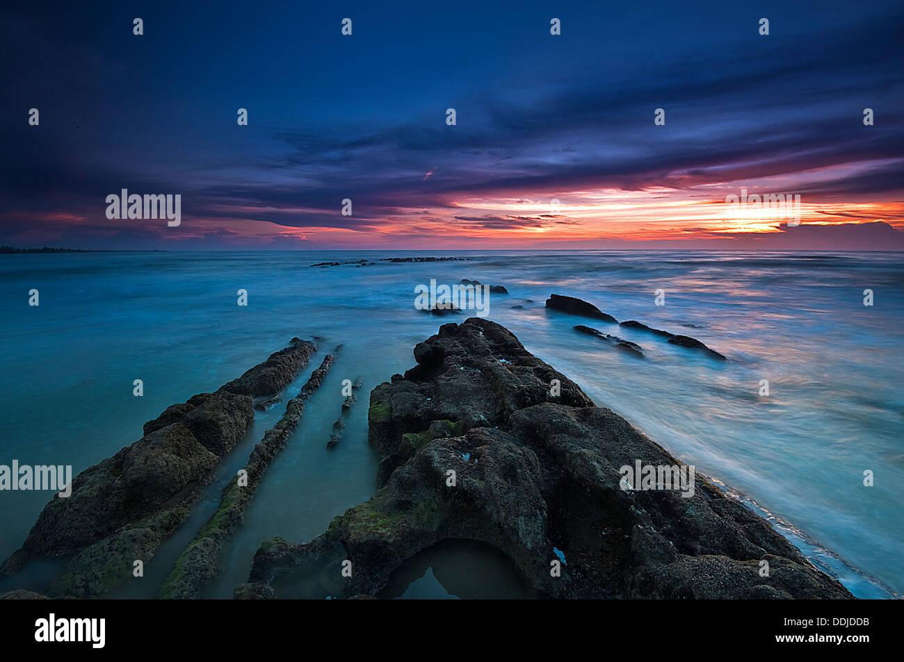 Golden Hour at Miri Beach - Stock Image