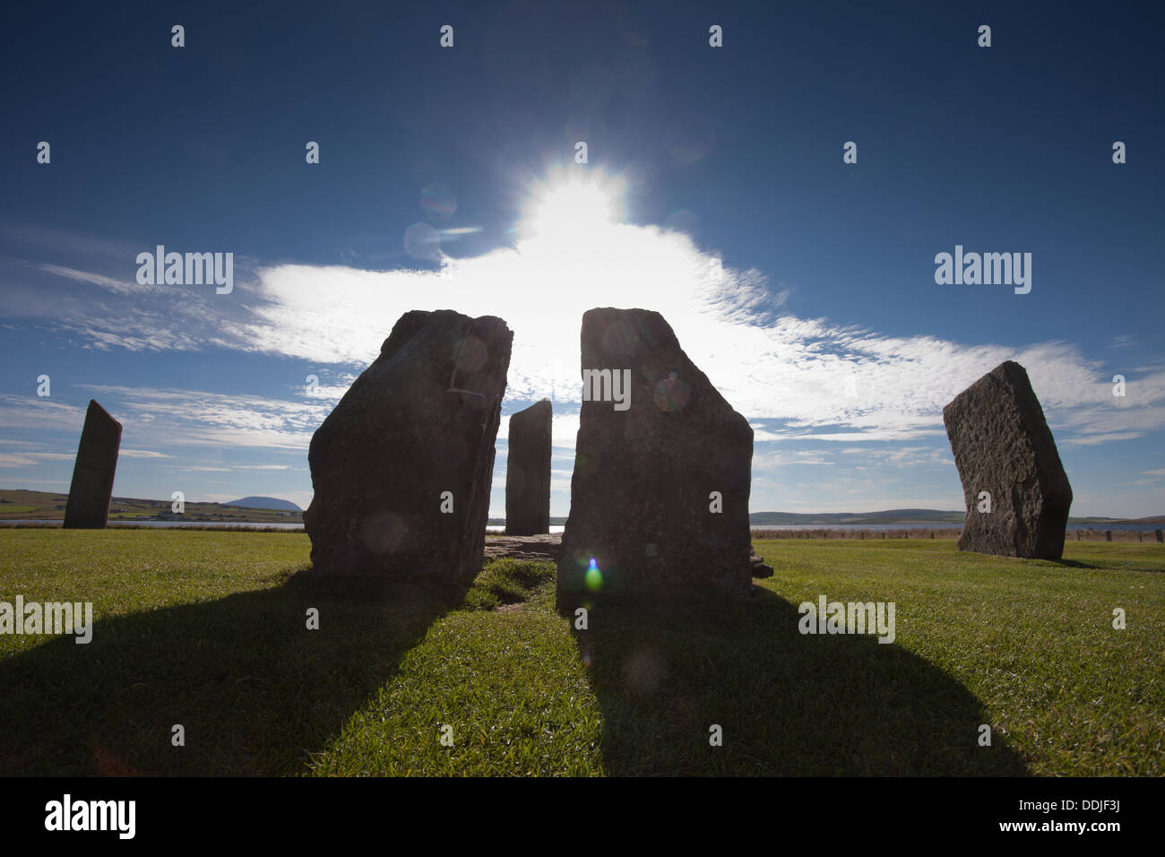 The Stones of Stennes, prehistoric stones in Orkney, Scotland UK - Stock Image