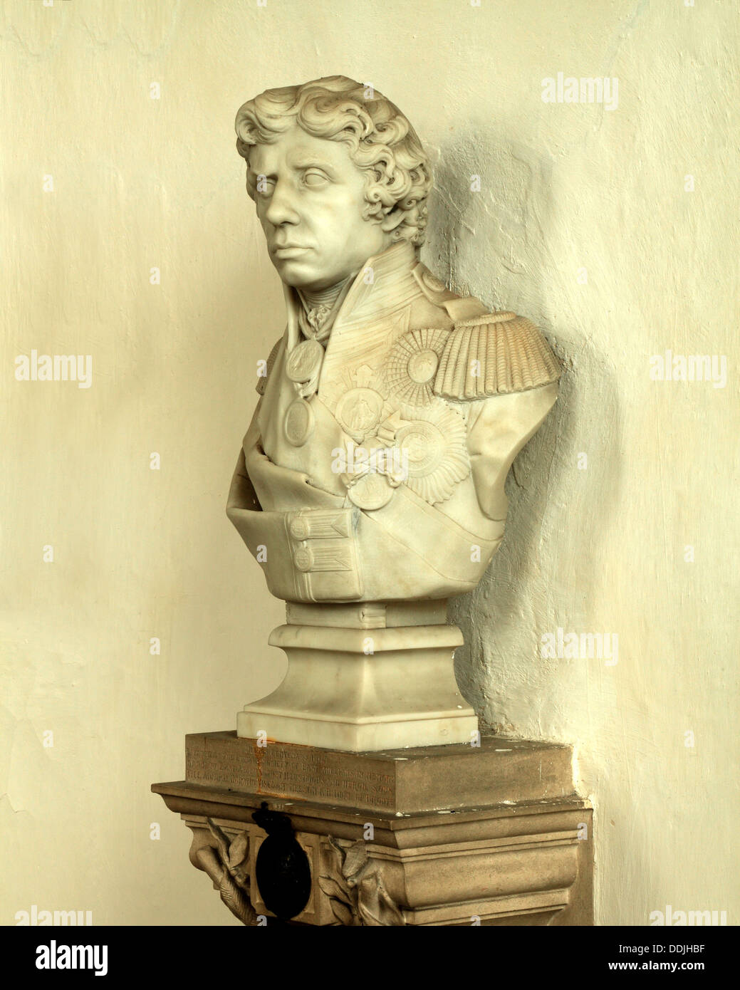 Burnham Thorpe, bust of Admiral Lord Nelson 2 - Stock Image