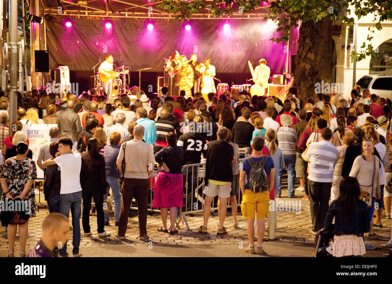 An evening open air concert in the town centre square, Blois, Loir et Cler, the Loire, France Europe - Stock Image