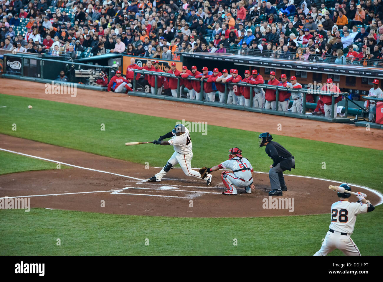 Pablo Sandoval gets a hit for the San Francisco Giants at AT&T Park, San Francisco, California - Stock Image