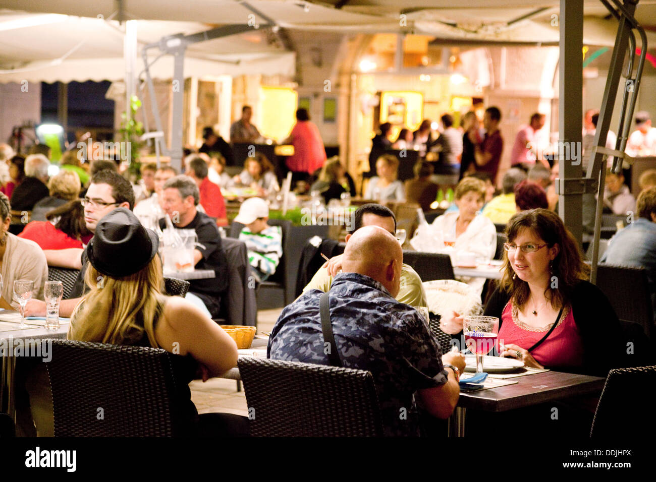 People eating and drinking in a  restaurant, Blois, Loir et Cher, The Loire valley, France Europe - Stock Image