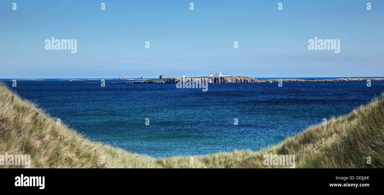 Farne Islands from the Dunes - Stock Image