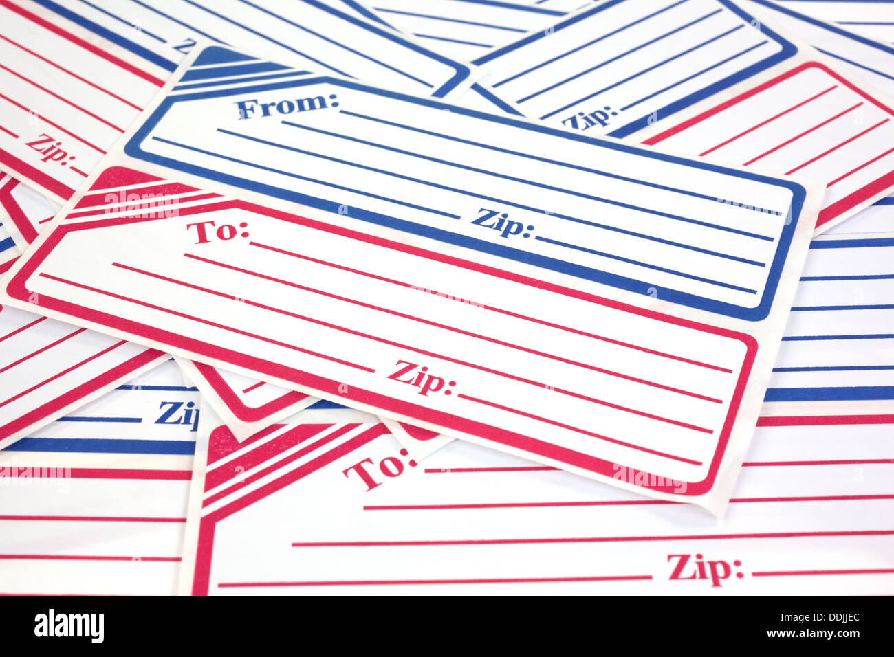Close view of several generic mailing labels Stock Photo