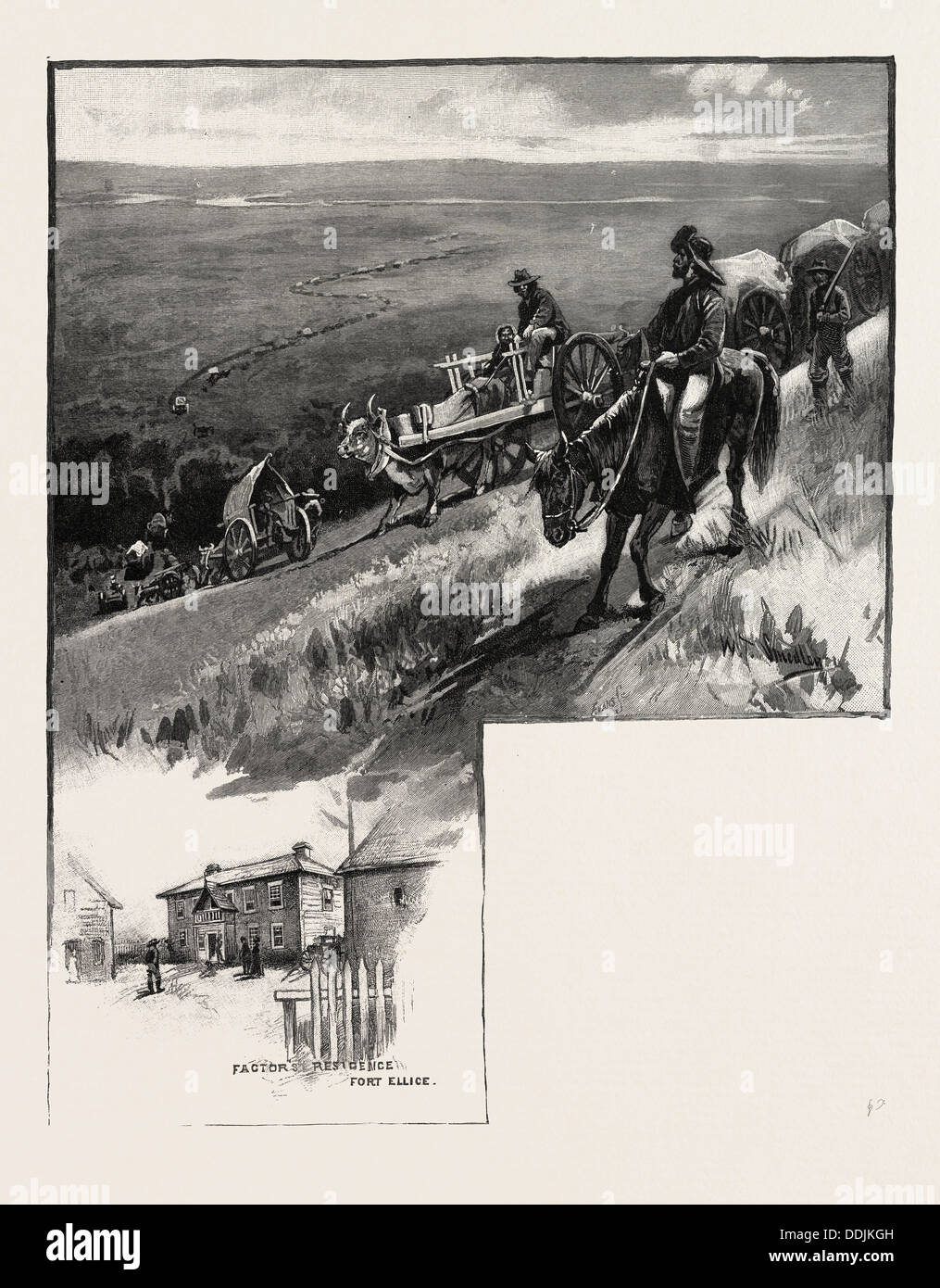 Emigrant train, Assineboine valley, CANADA, NINETEENTH CENTURY ENGRAVING - Stock Image