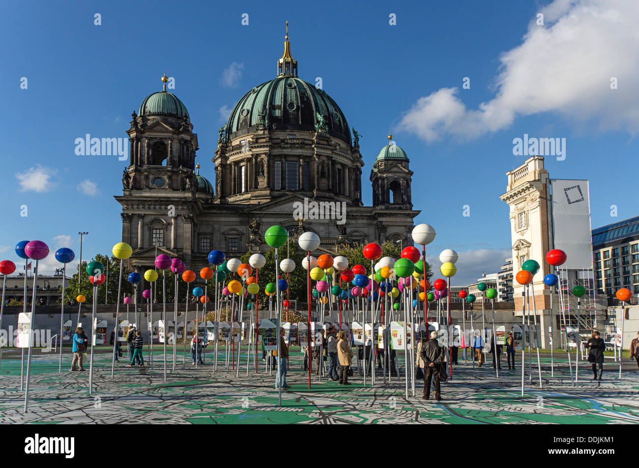 775 Years of Berlin, City of Diversity, Open Air Exibition, Walkable City Map, Berlin Center, Germany - Stock Image