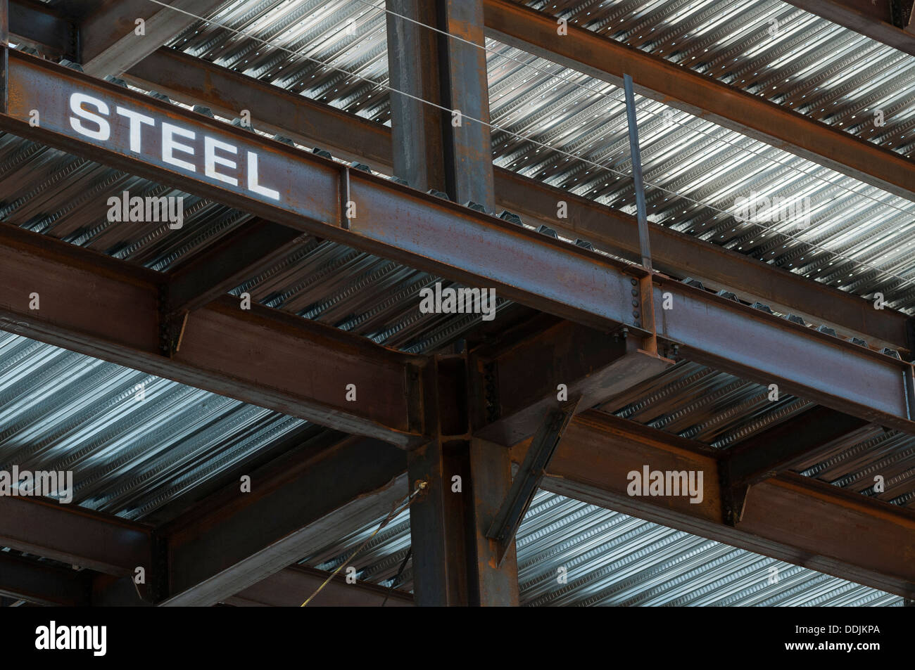 Steel Substructure of a new high rise building - Stock Image