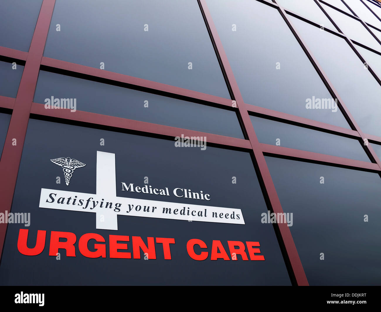 Medical / Urgent care building and identifying sign - Stock Image