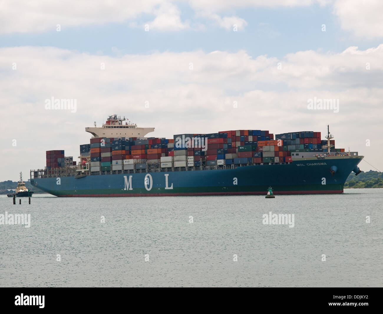 Container ship MOL Charisma arriving at Southampton Hampshire England UK - Stock Image