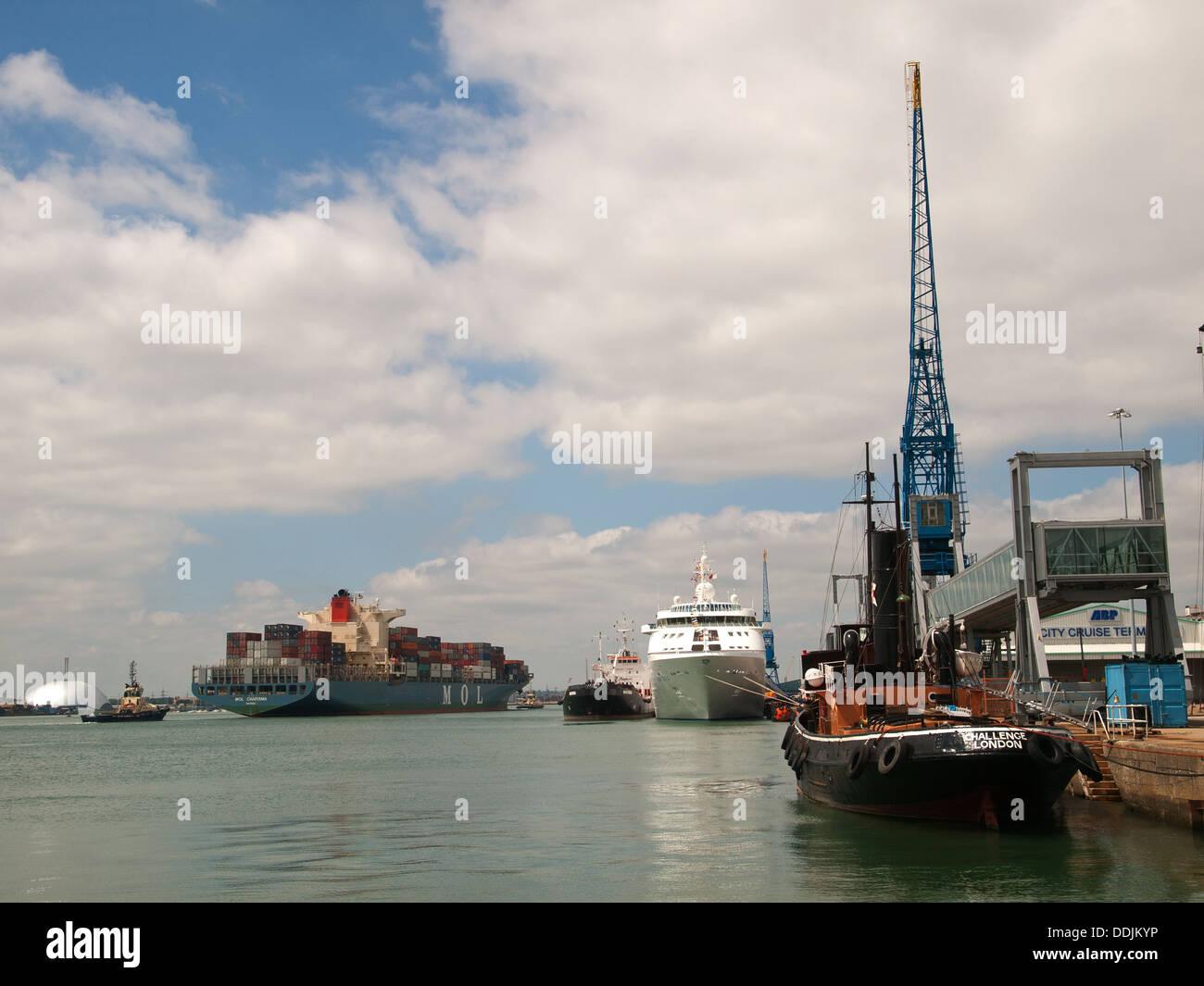 Varied marine traffic in Southampton port Hampshire England UK - Stock Image