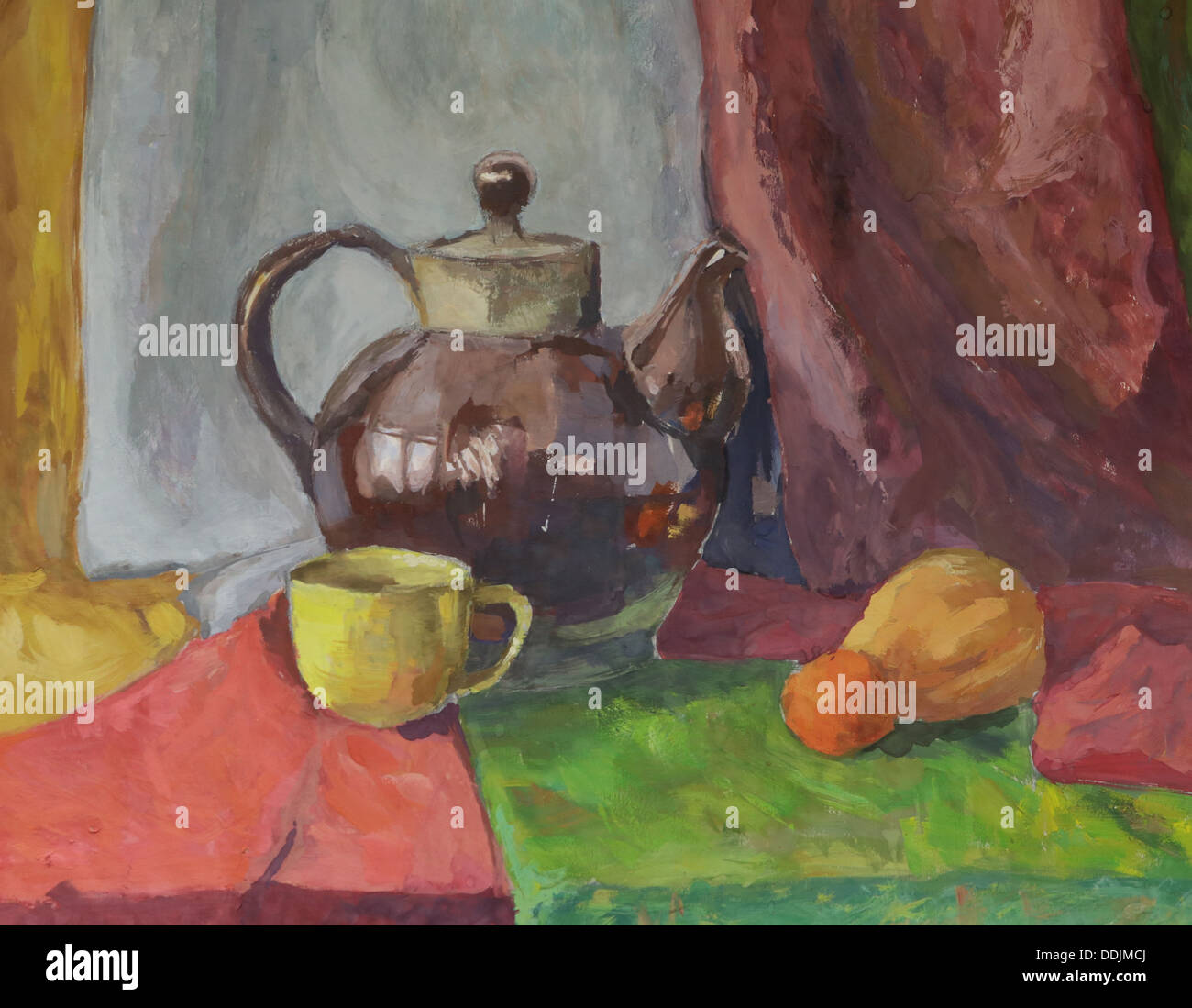 Still life with Teapot. Painting. Gouache on Paper. - Stock Image