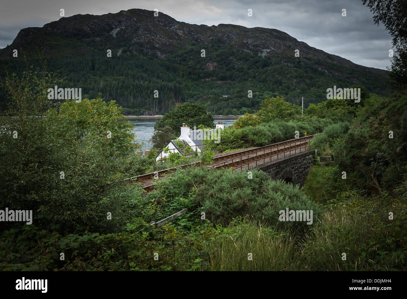 Kyle to Inverness railway line, near Achmore, Loch Carron, Wester Ross, Scotland - Stock Image