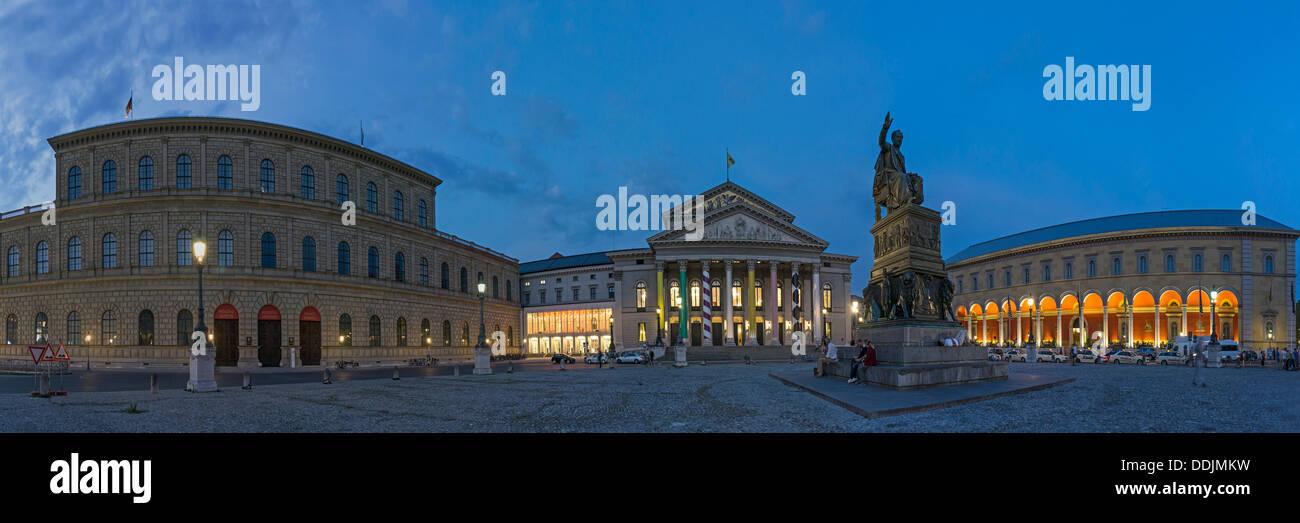 Munich State Opera, 360 degrees, Panorama, Munic, Bavaria, Germany - Stock Image