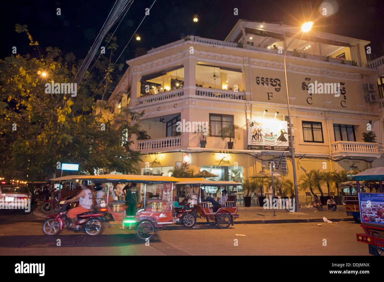 FCC, Foreign Correspondent Club at night in Phnom Penh , Cambodia - Stock Image