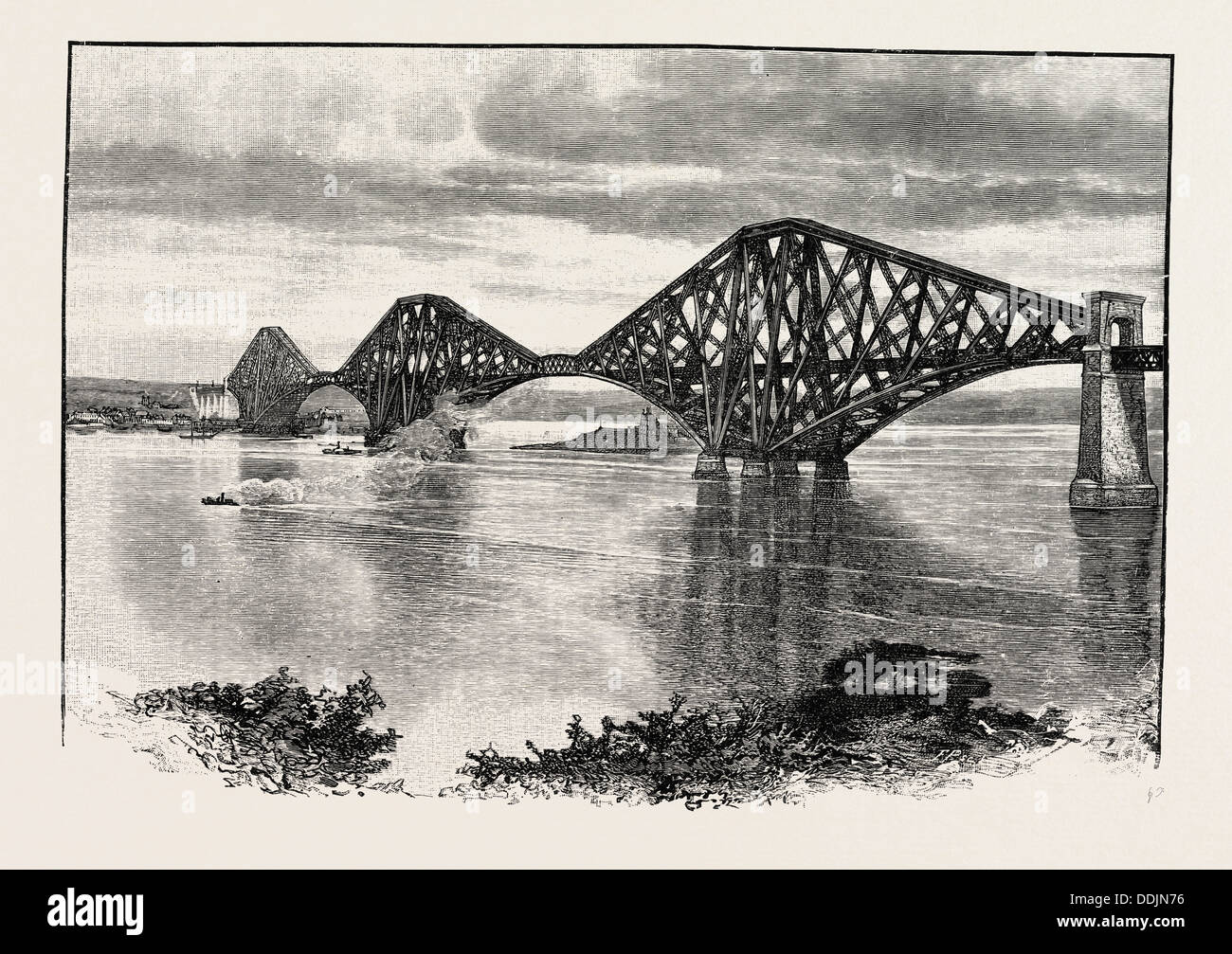 FORTH BRIDGE, FROM THE SOUTH-WEST. The Forth Bridge is a cantilever railway bridge over the Firth of Forth - Stock Image