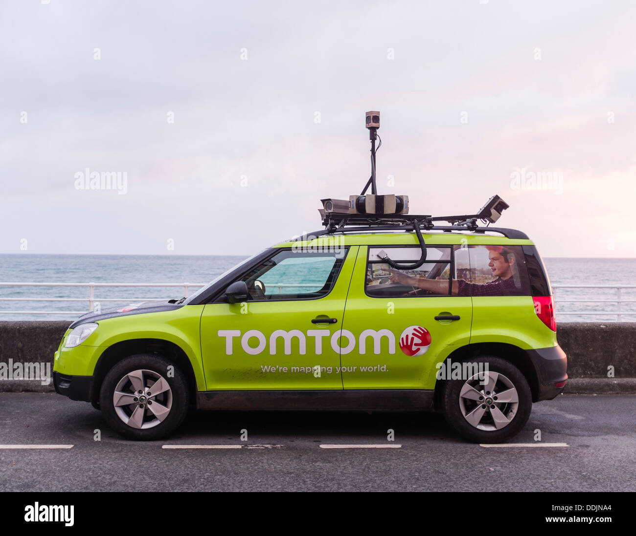 A TomTom sat nav navigation road street mapping photography car UK - Stock Image