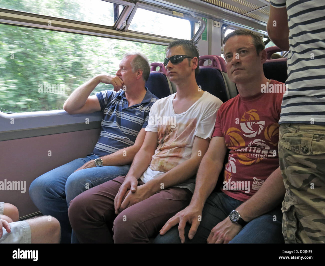 Passengers on the transPennine Ale Trail, summer - Stock Image