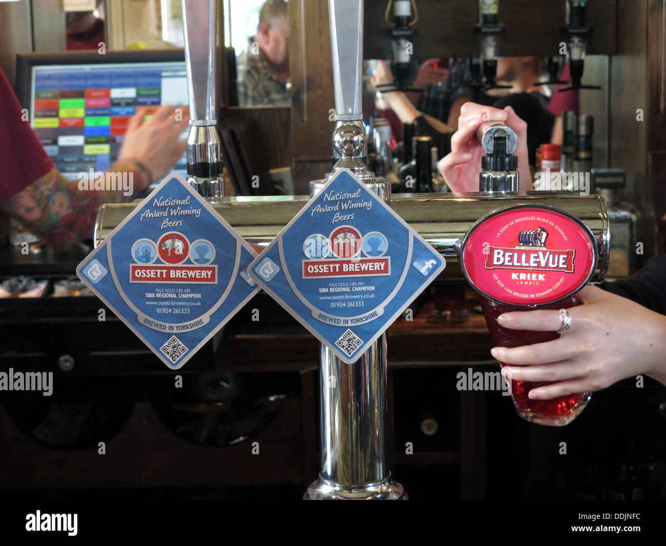 Ossett Brewery and BelleVue Kriek beer pumps at Marsden, TransPennine Ale Trail, The Riverhead Brewery Tap - Stock Image