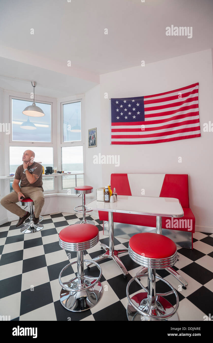 Interior, TY's American-style retro 50's  Diner cafe, Aberystwyth Wales UK. - Stock Image