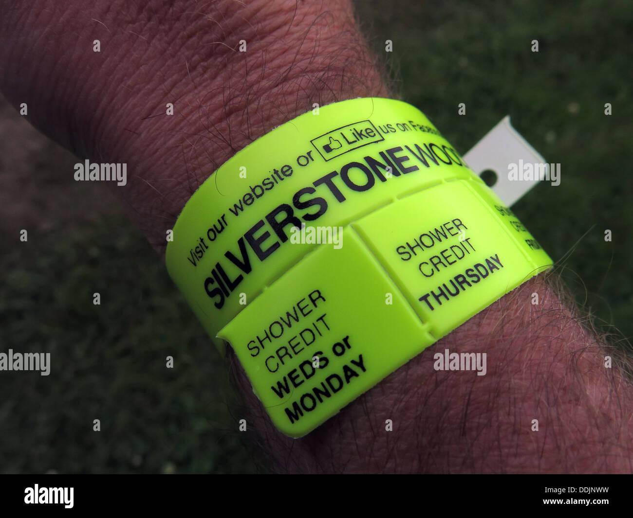 Yellow camping band for British GP June 2013 Silverstone Woods England UK - Stock Image