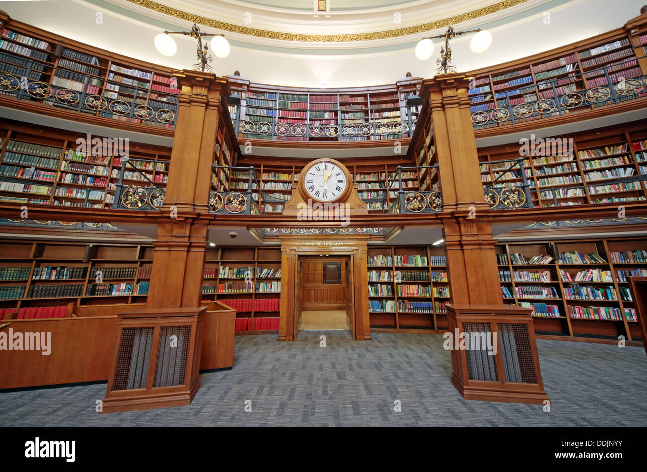 Clock over door to Honby library, Liverpool central library Picton reading rooms Stock Photo