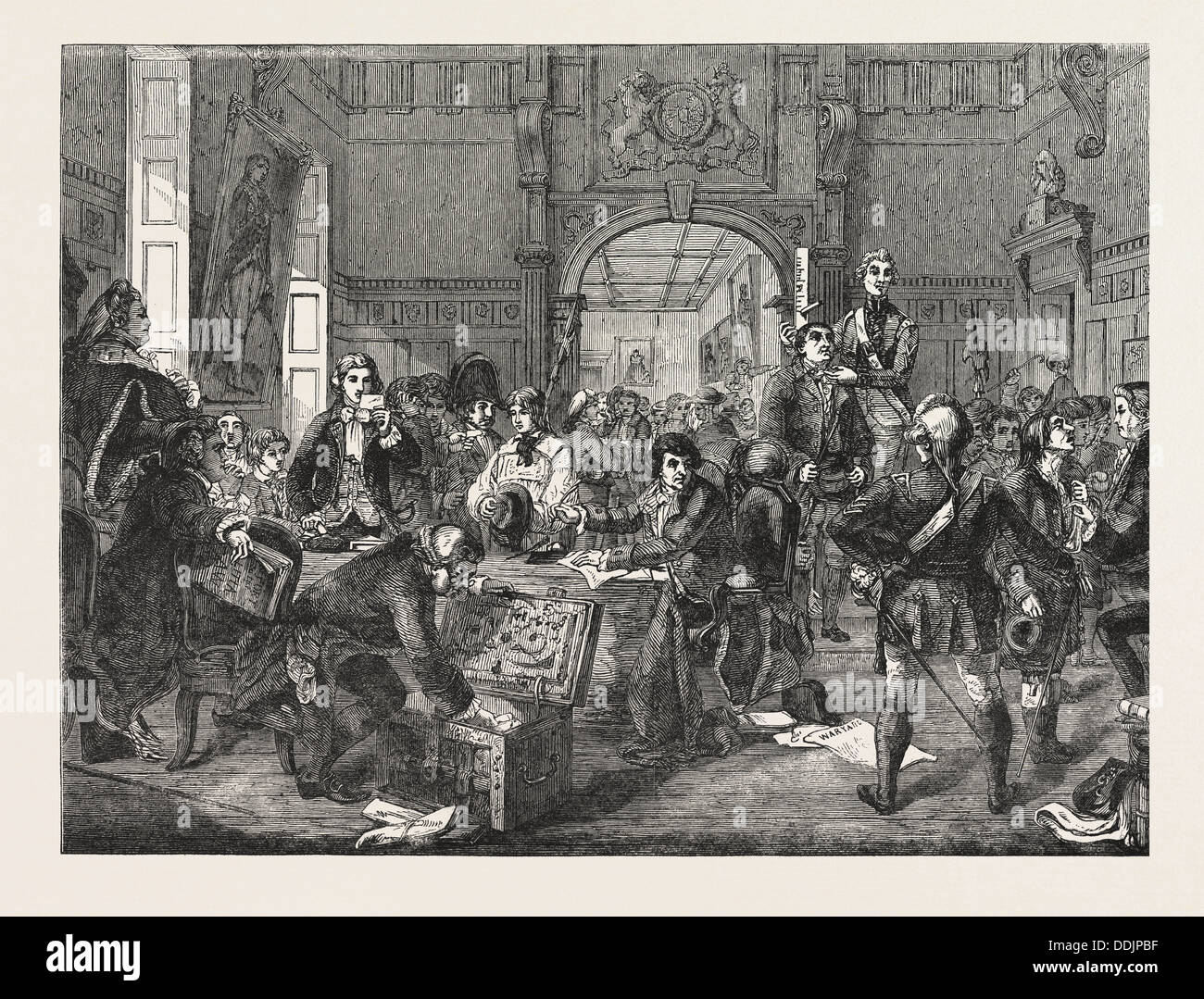 DRAWING FOR THE MILITIA. PAINTED BY J. PHILLIP. EXHIBITION OF THE ROYAL ACADEMY - Stock Image