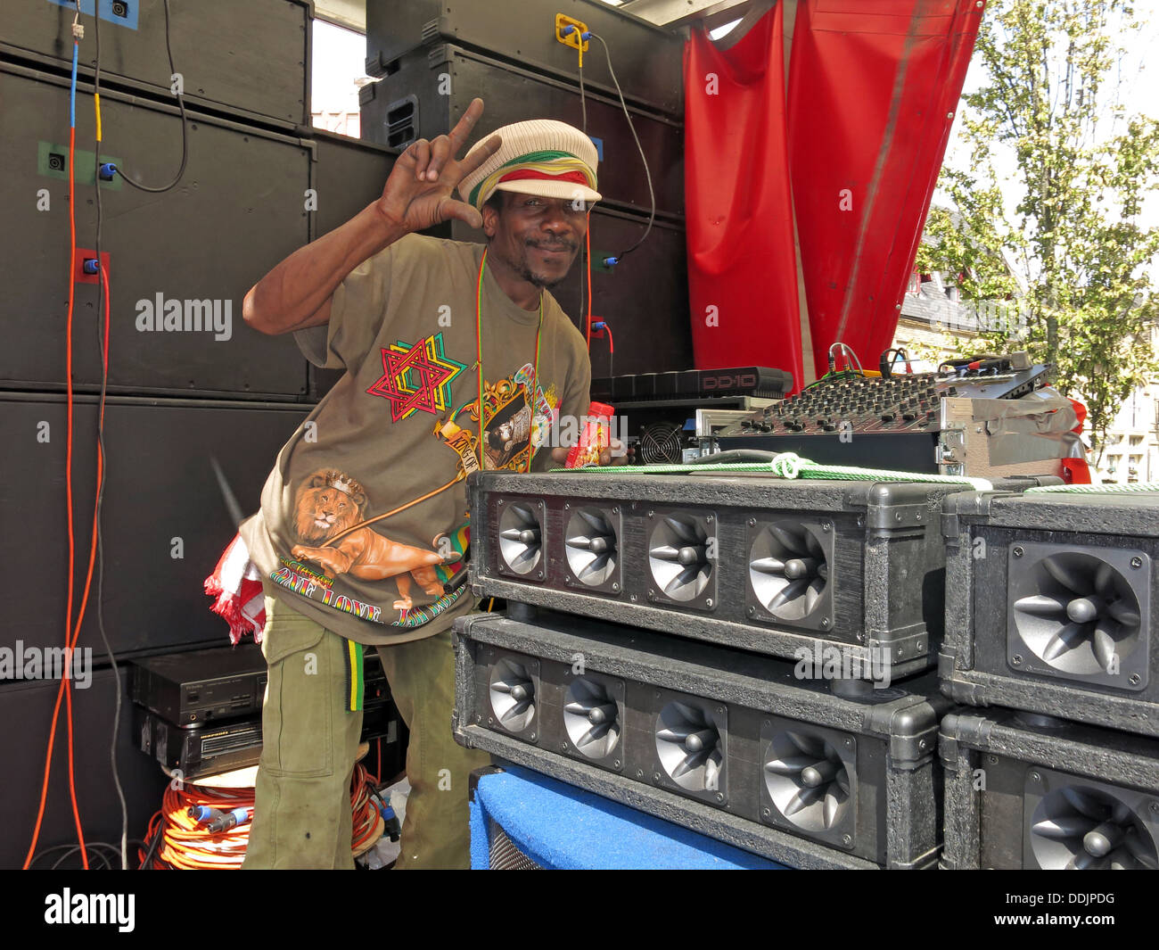 Sound man from Huddersfield Carnival 2013 African Caribbean parade street party - Stock Image