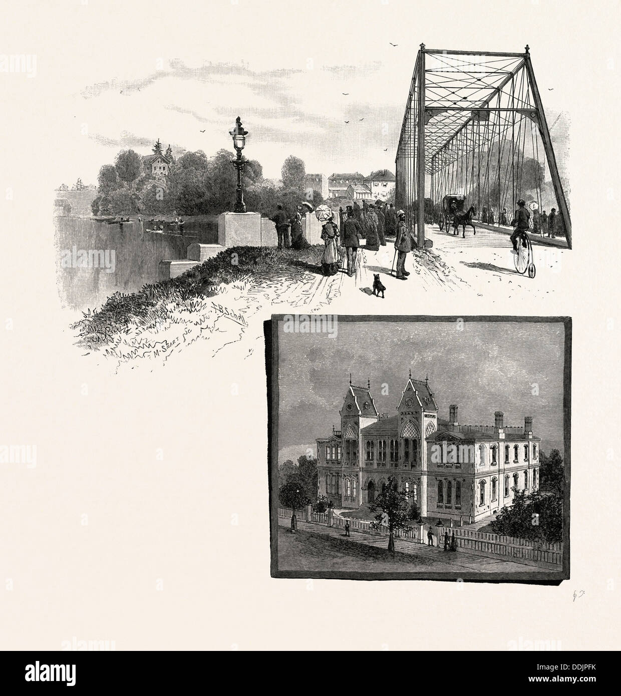 LORNE BRIDGE, BRANTFORD (TOP), COLLEGIATE INSTITUTE, BRANTFORD (BOTTOM), CANADA, NINETEENTH CENTURY ENGRAVING - Stock Image