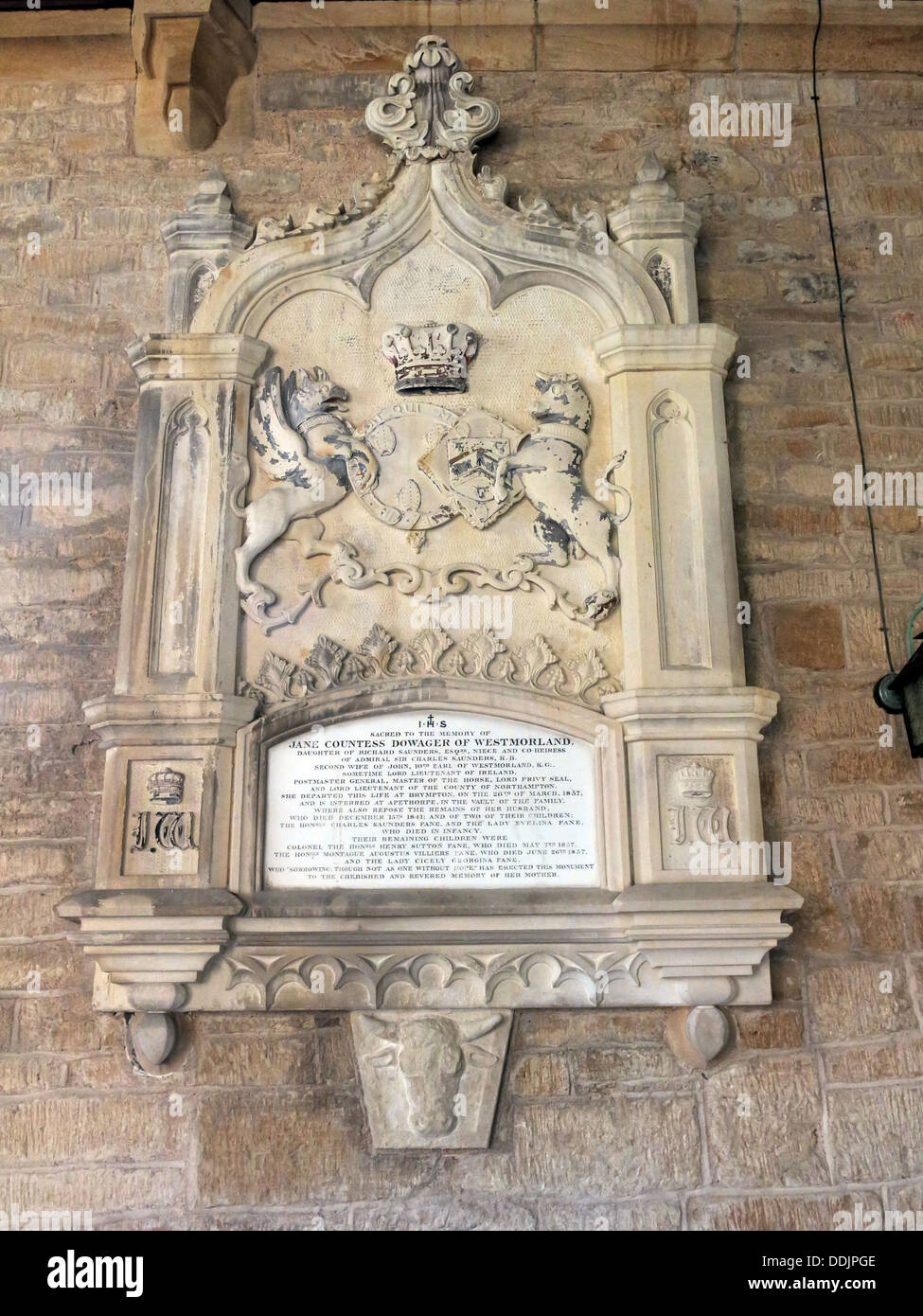 Memorial to Jane, Countess Dowager of Westmorland ( 1857). Buried at Aperthorpe, Brympton d'Evercy,  St Andrew - Stock Image