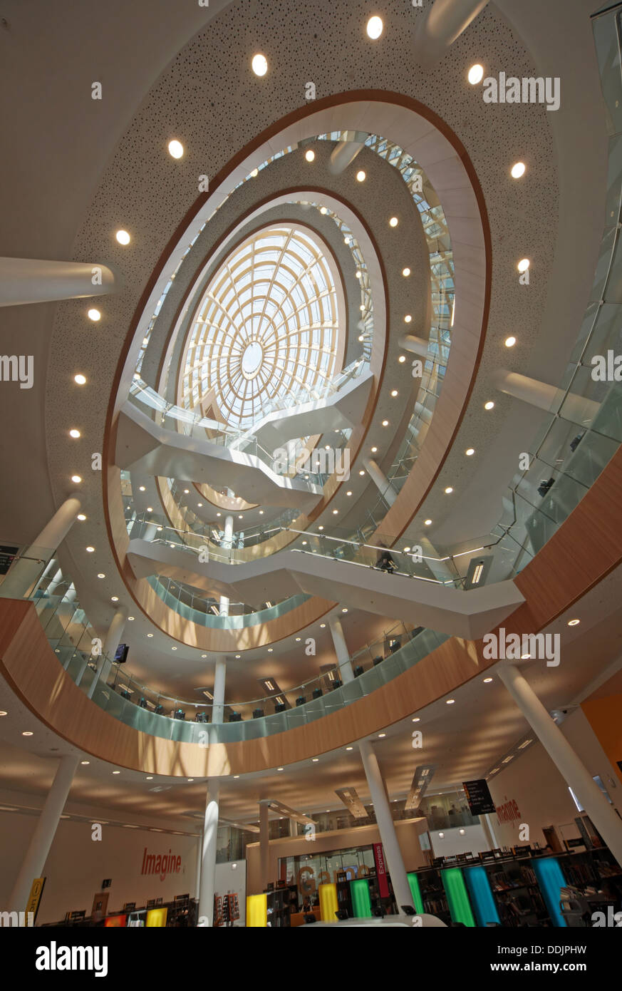 Wide angle view of the interior of the new Liverpool central library Merseyside England UK Stock Photo
