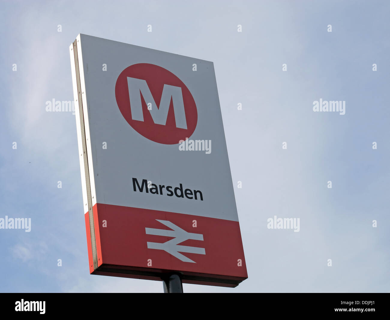 Marsden railway station sign on the Northern train line from Stalybridge to Huddersfield stop for the Riverhead brewery tap pub - Stock Image
