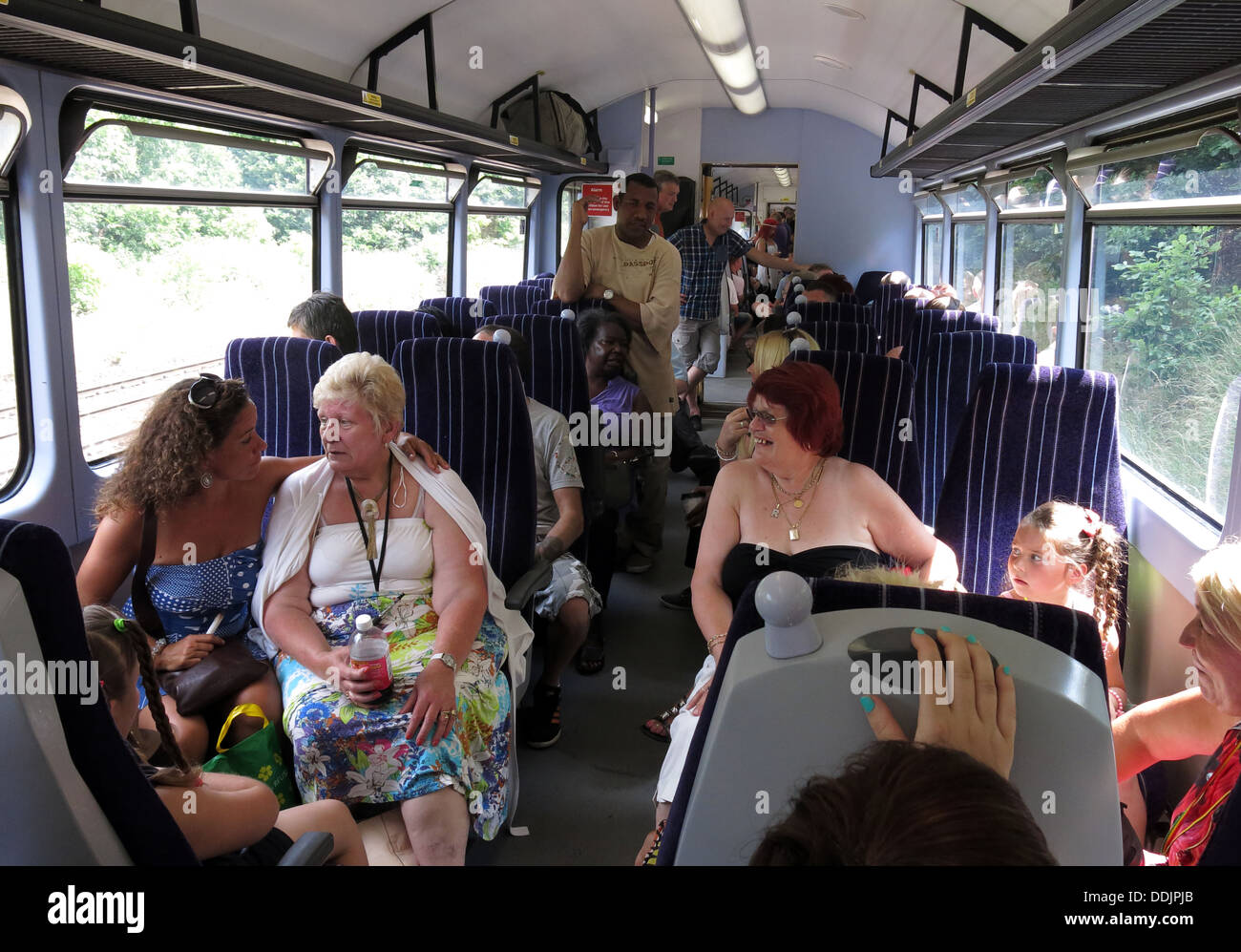 Northern Trains passengers going to Huddersfield West Yorkshire , England, UK - Stock Image