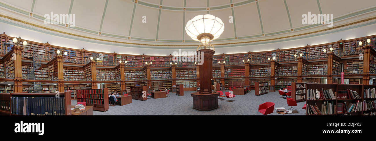 Liverpool central library Picton reading room panorama - Stock Image