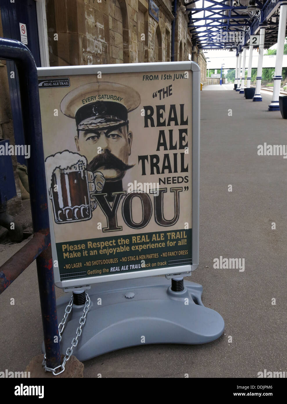 Real Ale Trail sign West Riding refreshment rooms Dewsbury sign, Station,West Yorkshire, England UK - Stock Image