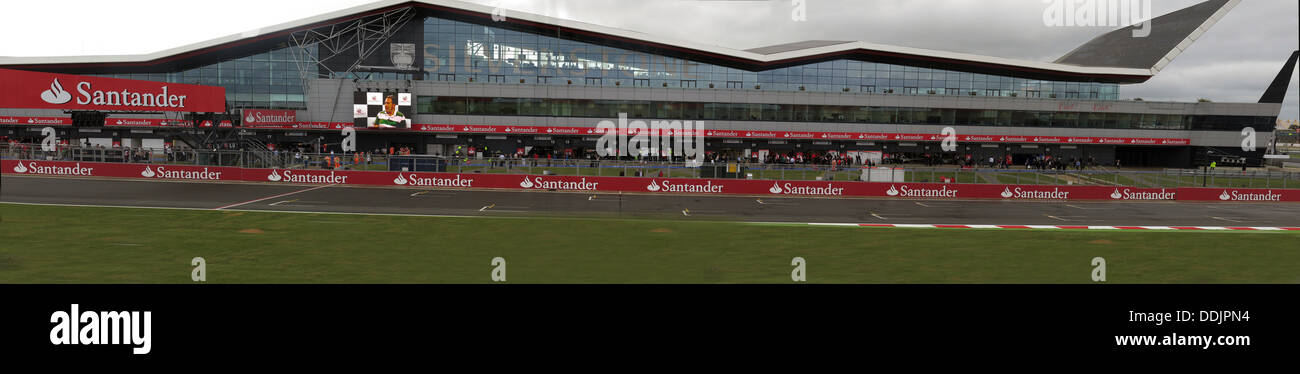 Panorama of new race control, pit paddock area building at British GP June 2013 Silverstone England UK - Stock Image