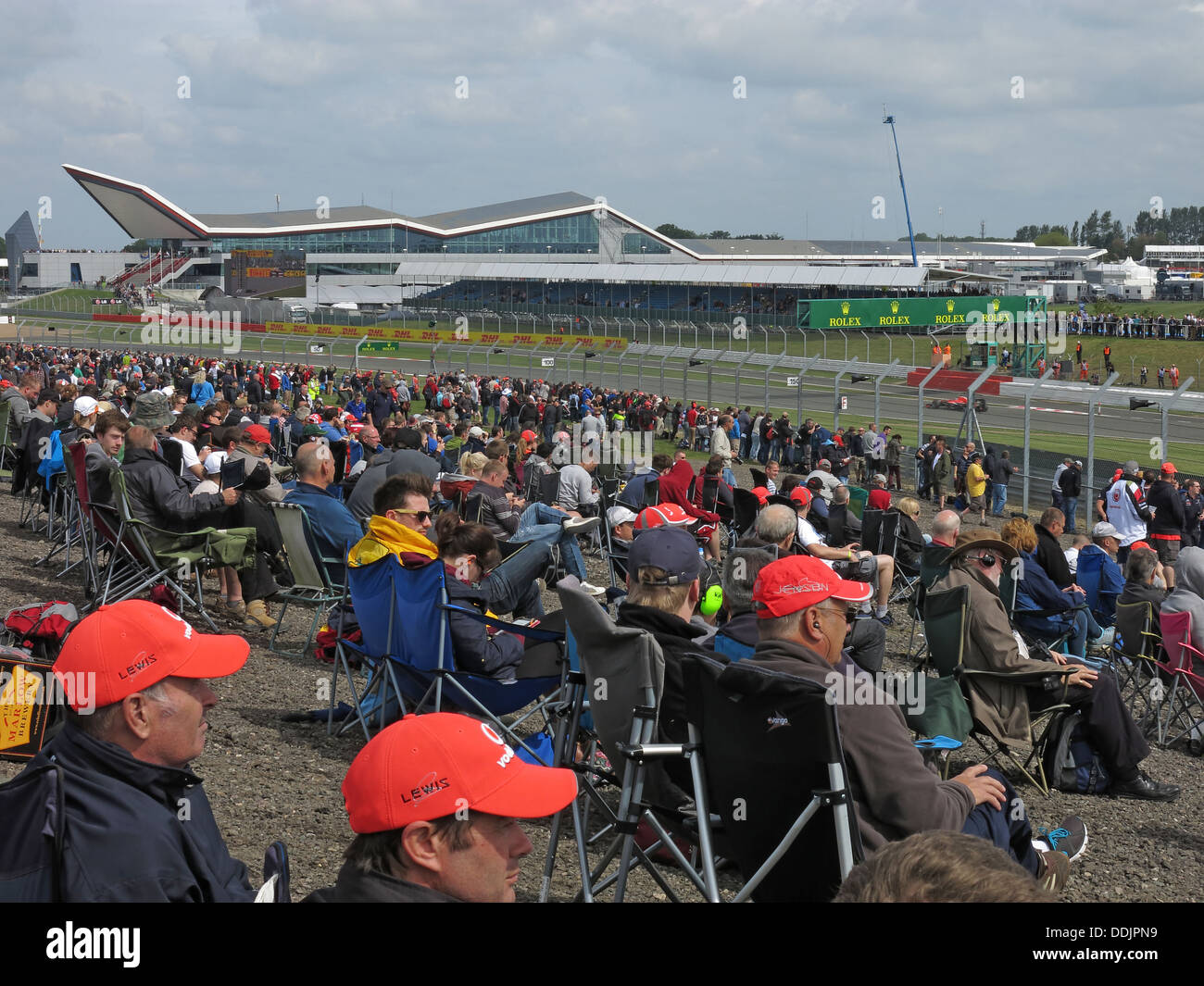 Track side spectators British GP June 2013 Silverstone England UK - Stock Image