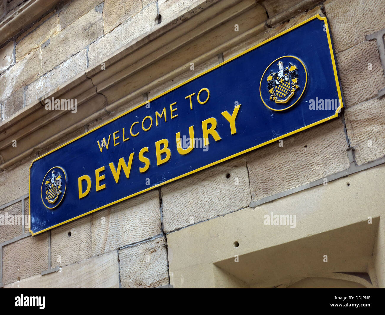 Welcome to Dewsbury sign, Station,West Yorkshire, England UK - Stock Image