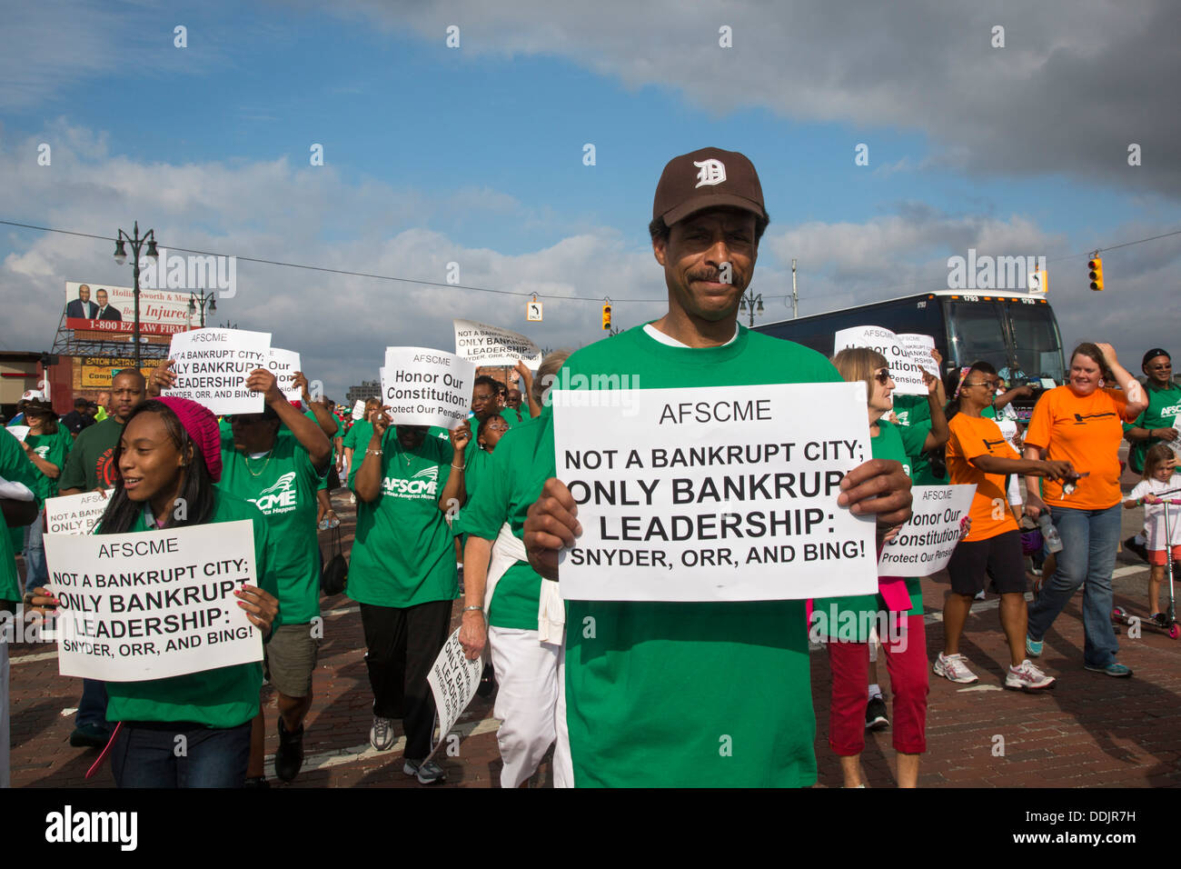 Detroit, Michigan - Detroit public employees protest the cuts expected as part of the city's bankruptcy filing. - Stock Image