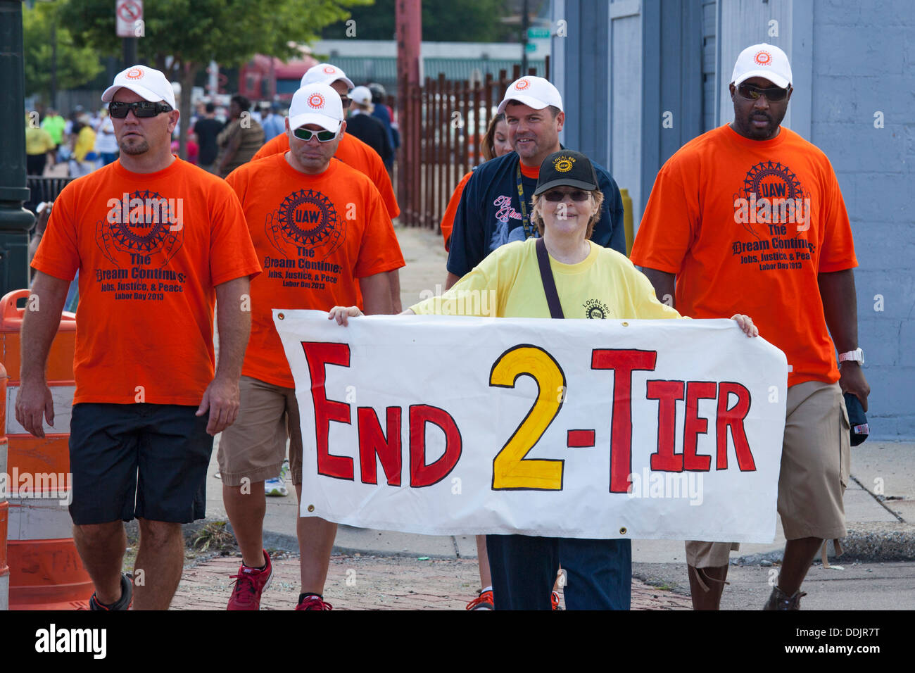 Members of United Auto Workers Local 600 at the Labor Day parade, expressing opposition to two-tier wage scales. - Stock Image