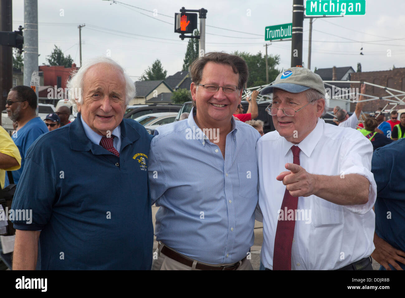 Politicians at Detroit's Labor Day parade. From left: Congressman Sander Levin; Congressman Gary Peters; Senator Carl Levin. - Stock Image
