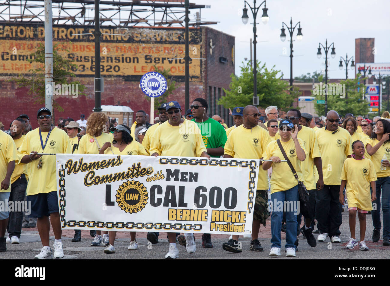 Detroit, Michigan - Members of the United Auto Workers Local 600 Women's Committee, which includes men, at the Labor Day parade. - Stock Image