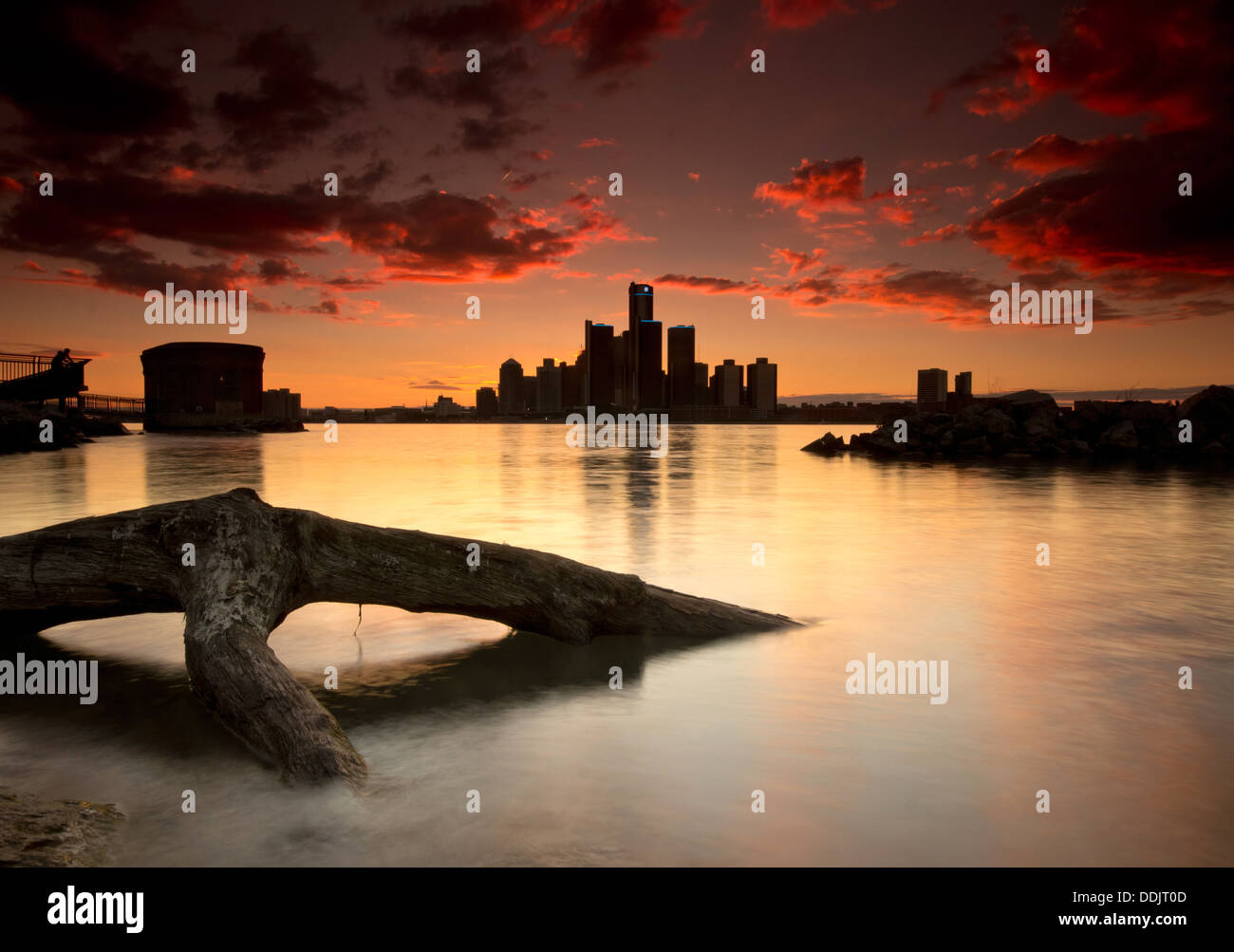 The Detroit Skyline at sunset viewed from Windsor, Ontario, Canada. - Stock Image